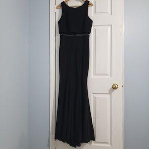 Betsy Adam Black w/ Mesh Panel Mermaid Prom Dress